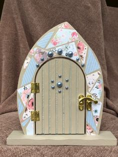 Decorative Decoupage Fairy Door, Faerie door, Hand Crafted, Hand Painted, Fairy Garden, Great gift for girls, Pretend play, imaginative play by LottiesLovelyStuff on Etsy
