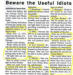 Useful Idiots brought to you by Saul Alinsky, Barack Hussein Obama and Hillary Clinton