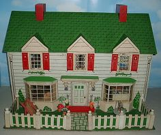 My Vintage Dollhouses: My Rich Toys houses Red Houses, Fairy Houses, Play Houses, Doll Houses, Vintage Dollhouse, Vintage Dolls, Muñeca Diy, Villas, Red Shutters