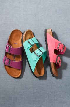 Bright Birkenstock sandals for summer. Can't live without my Birki's. I'd like to have healthy feet when I'm old :)