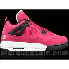 buy popular 400c4 43bec Air Jordan Retro 4 GS Voltage Cherry White-Black ❤ liked on Polyvore  featuring