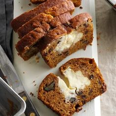 Pumpkin Swirl Bread with Walnuts and Cream Cheese Center - 5 Star Rating!
