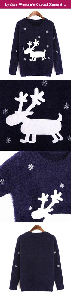 Lychee Women's Casual Xmas Snow Deer Knitwear Long Sleeve Mohair Sweater Dark Blue. Notice: 1. Due to the light and screen difference, the item's color may be slightly different from the pictures. 2. Please allow 0.5-1cm differences due to manual measurement. 3. Thank you for your kindly understanding. Suitable seasons: spring, autumn, winter. Fashionable, young and elegant. Thanks for your business! We strive for 100% customer satisfaction . Your positive feedback with 5-Star will be...