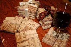 Coasters made from corks! A unique, personal gift for guests.