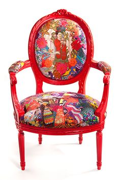 Hand painted chair – with stitched and appliqued 1950's fabric - Lauren Shanley