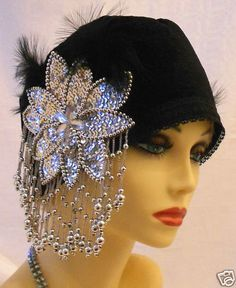 1920s Vintage Inspired Black Silver Turban Cloche Hat Flapper Gatsby Downton | eBay $20