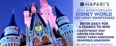 Enter to win a Disney World Get-Away Trip from @Hapari for a family of four! Enter daily for a chance to win!