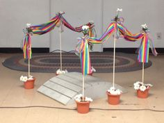 Girl Scout Bridging rainbow backdrop for bridging ceremony Girl Scout Swap, Girl Scout Leader, Girl Scout Troop, Brownies Girl Guides, Girl Scout Bridging, Girl Scout Cookies Recipes, American Heritage Girls, Girl Scout Activities, Girl Scout Juniors