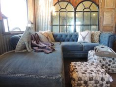 Classic comfort with a denim couch.