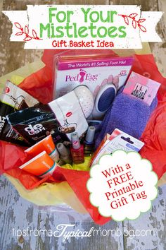 For Your Mistletoes Free Printable Gift Basket Idea #shop