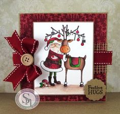 Square card made using Santa's Helper stamp set - Reindeer Forest 8 x 8 embossing folder - Red Berry, Holly Leaf, Harvest Moon, Smoked Quartz & Crystal Clear Sparkle Pens Designed by Donna Mosley Nordic Christmas, Handmade Christmas, Crafters Companion Cards, Pen Design, Spectrum Noir, Square Card, Holly Leaf, Christmas Cards, Christmas Ideas