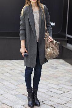 long gray coat , black pants