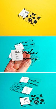 Martyna Wędzicka handmade business cards made using stickers, plastic acrylic sheets, and a Sharpie