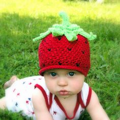 CROCHET PATTERN #208 - Baby Strawberry Beanie Hat  - Crochet Pattern -Instant Download