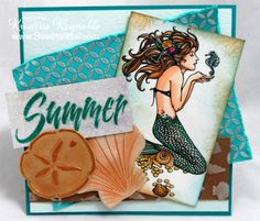 Designed by Kristine Reynolds. Mermaid stamp by Stampendous. Dreamweaver stencils  The two shells are LM106 Scallop and LR 12 Sand Dollar.  I used Gold Paste on the Sand Dollar and Pearlescent Paste on the Scallop shell. When they were dry I brushed on Gold Dust Metalic F/X. I used pearlescent paste on the teal panel with Cathedral Windows large. The bottom brown panel was stenciled with seashells.