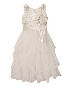 Another great find on #zulily! Candlelight Sequin Ruffle Dress - Infant & Girls #zulilyfinds