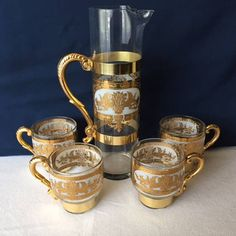 Mid Century Cocktail Pitcher Set, 1950s Gold Barware 5 Pc Set Antique Items, Vintage Items, Brass Band, Bar Areas, Glass Pitchers, Scroll Design, Cocktail Shaker, Hollywood Regency, Martini