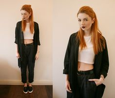 Topshop Rib Crop Tee, Sheinside Checked Trousers, Topshop Slip Ons, Pretty Little Thing Longline Blazer Coat