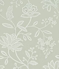 Larkhill (BW45051/2) - G P & J Baker Wallpapers - A delicate embroidery style classic floral trail wallcovering, with a distressed hand drawn effect.  Shown in off white and dove grey. Other colourways are available. Please request a sample for a true colour match. Pattern repeat is 61cm.  Paste-the-wall product.