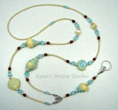 Karen's Artistic Touches Store - Seashell Cream Teal Brown Lampwork Glass Beaded Lanyard ID Badge Holder, $25.99 (http://www.karensartistictouches.com/seashell-cream-teal-brown-lampwork-glass-beaded-lanyard-id-badge-holder/)