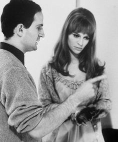François Truffaut & Julie Christie on the set of Fahrenheit 451 (1966).