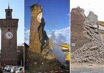 La Torre dell'Orologio a Finale Emilia (Modena) prima e dopo le lesioni  ANSA / LUCA CAROZZINO