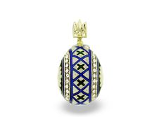 Handcrafted 14kt gold plate over .935 sterling silver Faberge-style pysanka (decorated egg) pendant with Swarovski crystals, enameled coloring, and tryzub bail.