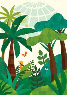 植物園の朝_ suzuki tomoko Reference Images, Gouache, Plant Leaves, Scene, Drawings, Illustration, Plants, Awesome Things, Painting
