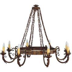 antique 1930s large scale spanish revival chandelier