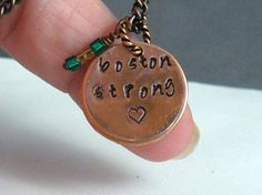 SAMANTHA CLARK Boston Strong Handstamped Copper Necklace by DesignsBySuzze, $25.00