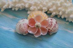 """Seashell Hair Clip, Shell Flower Hair Barrette, 3.25"""" Hair Clip, Beach Wedding…"""