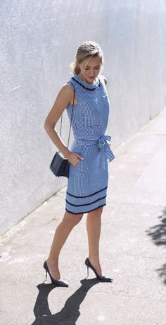 Discover the perfect outfit to wear to a outdoor summer wedding. Our exclusive Timo Weiland capsule collection gingham print sleeve top and pencil skirt combo is a a fresh take on a timeless classic. Pair this look with pumps and pearls for an unforgettable elegant look, like Mary Orton | Banana Republic