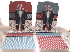 Patriotic pop-up cards using the Stampin' Up! exclusive Pop 'n Cuts dies. Love these!