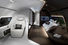 Inside the First Mercedes-Benz Private Jet - Private Plane Luxury Jets, Luxury Private Jets, Private Plane, Airplane Interior, Yacht Interior, Interior Design, Spaceship Interior, Futuristic Interior, Futuristic City