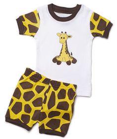 "Leveret Shorts ""Giraffe"" Baby Girl 2 Piece Pajama 100% Cotton (6-24 Month) (6-12 Months, Brown)"