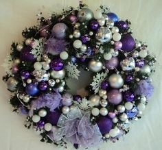 Christmas purple wreath. This is for my sister (in-law) Geri. Her favorite color.ap