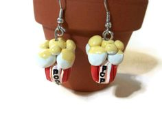 Popcorn Earrings Polymer Clay Charms Popcorn jewelry by bowsngifts, $3.50