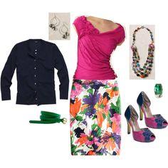 """Gathering Tank/No. 2 Pencil Skirt in Garden Floral/Jackie Cardi"" by jennifoundinmycloset on Polyvore"