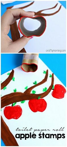 Make Apple Stamps Using a Toilet Paper Roll - Fall craft for kids to make! Autumn Crafts, Crafts For Kids To Make, Holiday Crafts, Autumn Art, Apple Activities, Craft Activities, September Crafts, Fruit Crafts, Apple Theme