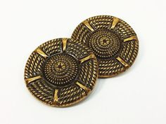 Large Brass Buttons Unique Braid Wheel Coiled Rope by naturegirl22