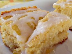 Peach Breakfast Cobbler--This breakfast entree is half coffeecake and half cobbler..A Yummy breakfast using the convenience of a cake mix for the batter, peach pie filling and a delicious powdered sugar glaze on top and each bite is filled with peaches!! Yummmy!!
