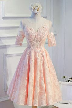 Cute Illusion Neckline Open Back Blush Pink Lace Party Prom Dress With Sleeves Long Prom Gowns, Prom Party Dresses, Formal Evening Dresses, Wedding Dresses, Blush Pink Prom Dresses, Prom Dresses With Sleeves, Illusion Neckline, All About Fashion, Pink Lace