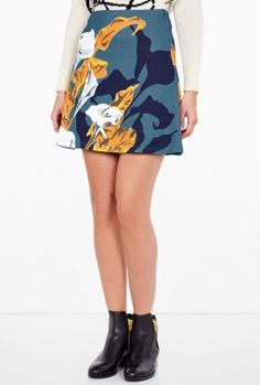 Flower Print A Line Skirt By Carven