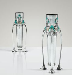 Jules-Auguste Habert-Dys 1850 - 1924 PAIRE DE VASES, 1904 A PAIR OF SILVER AND ENAMEL VASES BY JULES-AUGUSTE HABERT-DYS, 1904. SIGNED, DATED AND WITH MAKER'S AND SILVER GUARANTEE MARKS