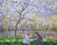 Springtime. Claude Monet.  It takes place at his garden at Giverny in 1886.The tonality perfectly examplifies the 'violettomania' or 'seeing blue' for which the Impressionists were repeatedly criticized.
