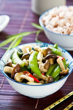 Stirred fried pea with mushroom by vanillaechoes, via Flickr