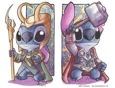 Disney Vs Marvel! Thor & Loki Stitch by Agnes Garbowska