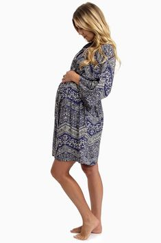 Navy-Blue-Bohemian-Printed-Maternity-Hospital-Robe