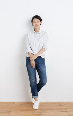 MUJI | OGC WASHED STRIPE BIG SHIRT | OGC STRETCH DENIM TAPORED BOYFRIEND ANKLE LENGTH | WATER REPELLENT ORGANIC COTTON SNEAKERS