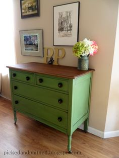 Options for some of the dressers from childhood  Picked & Painted: Vintage Green Dresser